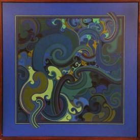 Sandy Adsett      Awhiowhio - Whirlwind     Acrylic on hardboard     915 X 917mm   80/30/9