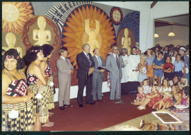Sir Henare Ngata opening the exhibition Contemporary Māori Art in the new museum and art gallery, 26 March 1977, 601-3-5