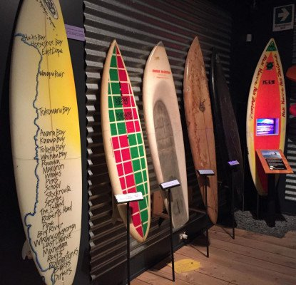Te Moana exhibition surfboards