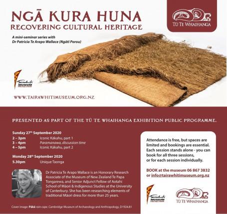 Ngā Kura Huna: Recovering Cultural Heritage, a mini seminar series with Dr Patricia Te Arapo Wallace